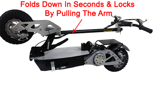 By pulling the arm scooter folds down