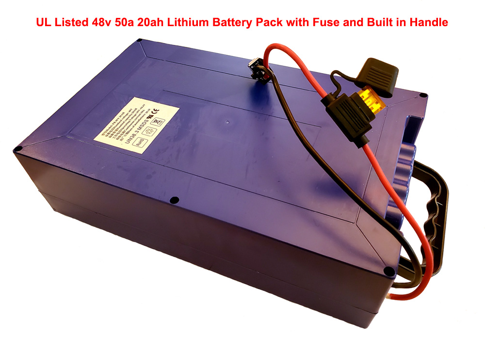 UL Listed 48v 50a 20ah Lithium Battery Pack with Fuse and Built in Handle
