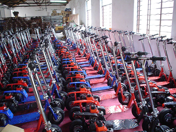 Scooters in the factory