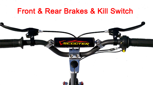 Handlebar with front and rear brakes and kill switch