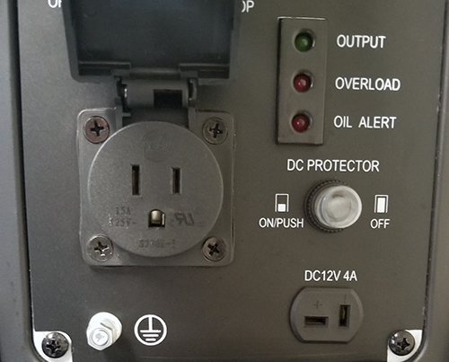 DG-1500 Digital Generator Inverter closeup of control panel with plugin