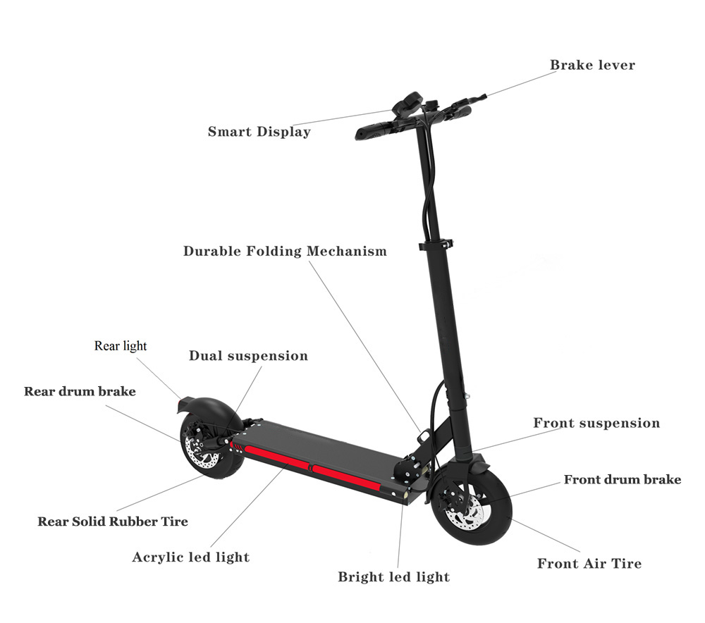 Details of the Urban 600watt 48v Lithium Smart Electric Scooter