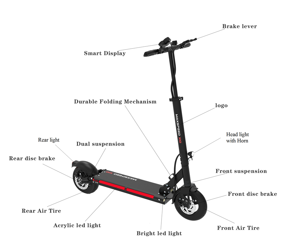 Details of the Urban 600watt 48v Lithium Max X9 Electric Scooter