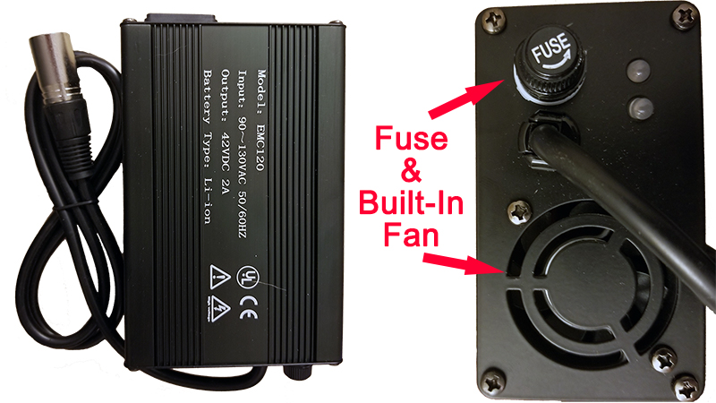 Lithium battery charger with fuse and built-in fan