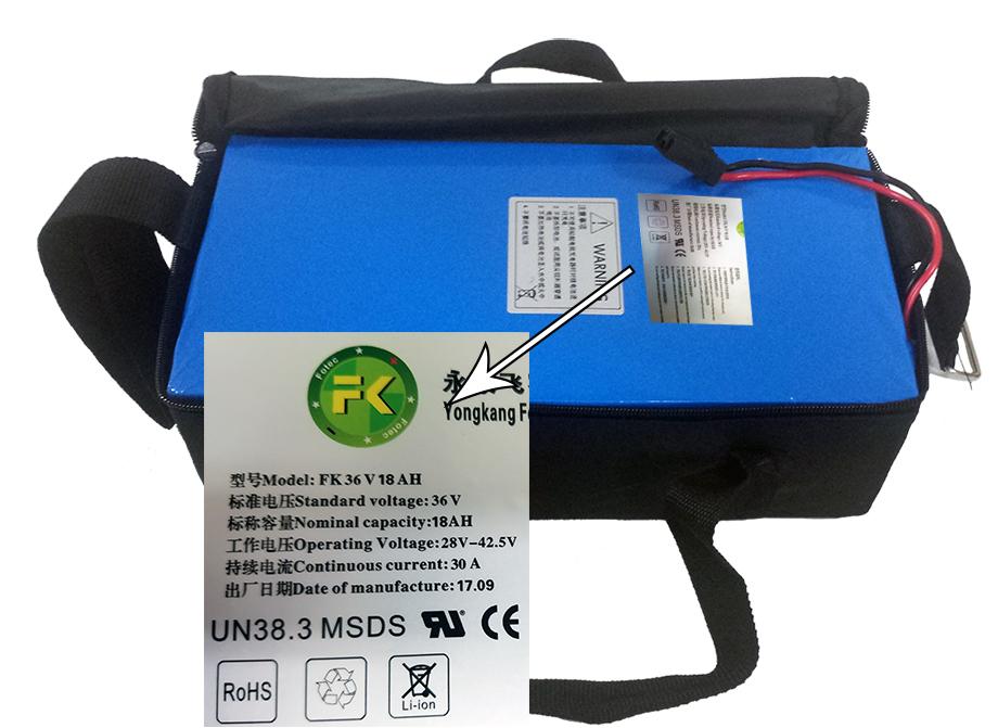 Lithium Battery Pac 36v 18 AH