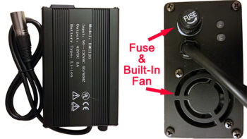 Lithium charger with fuse and built-in fan