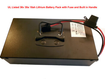 UL Listed 36v 30a 18ah Lithium Battery Pack with Fuse and Built in Handle
