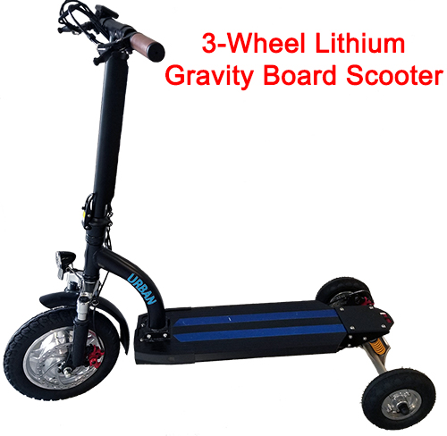 3-Wheel Smart Urban 500 Watt Lithium Gravity Board Scooter