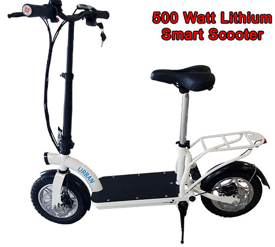 Smart Urban 500 Watt Lithium Scooter w/ Seat & Luggage Rack